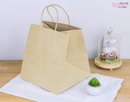 ถุงกระดาษหูเกลียว คราฟน้ำตาลใส่กล่องเค้ก 1 ปอนด์