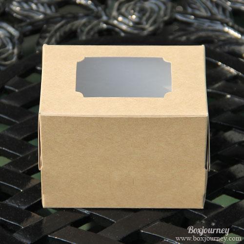 กล่องเค้ก 1 ชิ้น คราฟสีไม้สนหลังขาว
