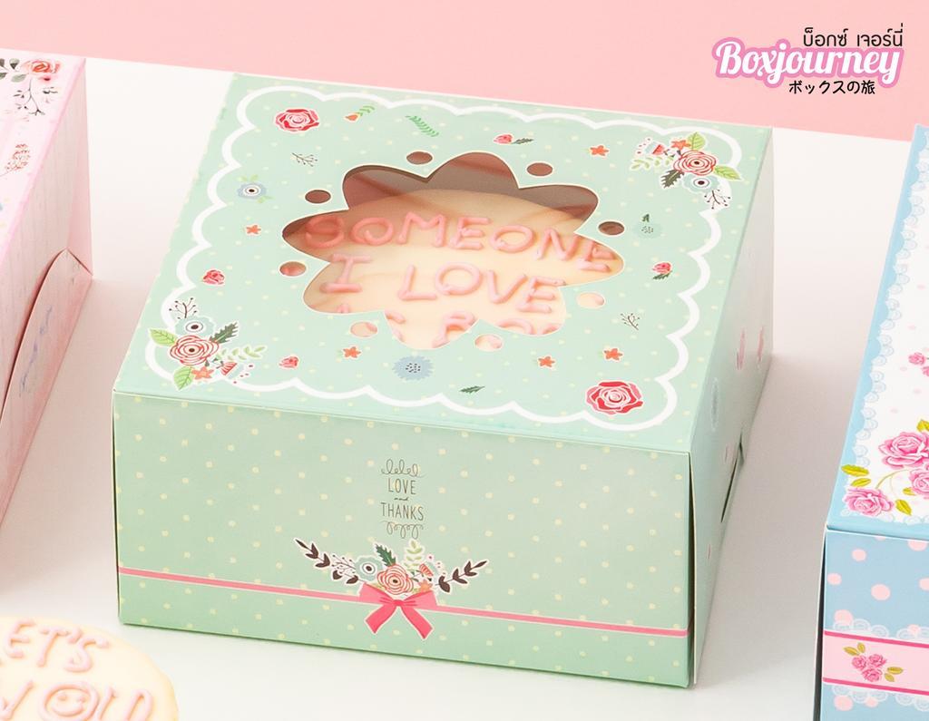 กล่องเค้ก 1 ปอนด์ เขียวมิ้นต์หน้าต่างดอกไม้