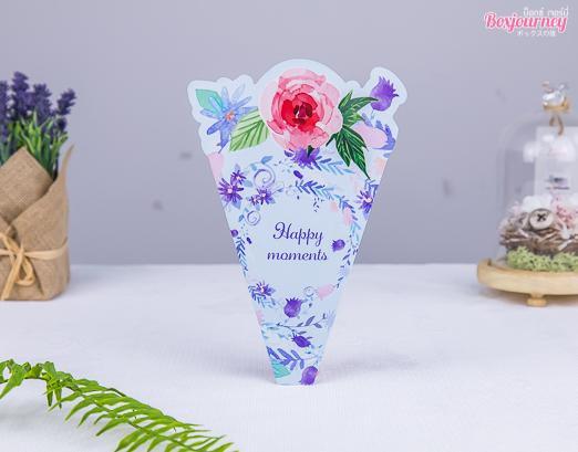 ซองเครปพิมพ์ลายดอกไม้พื้นฟ้า