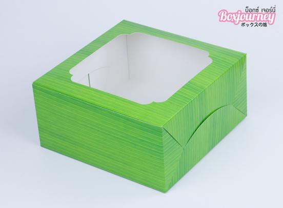 กล่องเค้ก 1 ปอนด์ ลายใบตอง