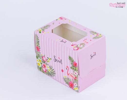 กล่องเค้ก 1 ชิ้น ฟลามิงโก้ ชมพู