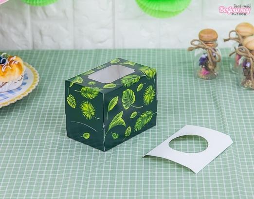กล่องคัพเค้ก 1 ชิ้น กรีน ทรอปิคัล (พร้อมฐาน)