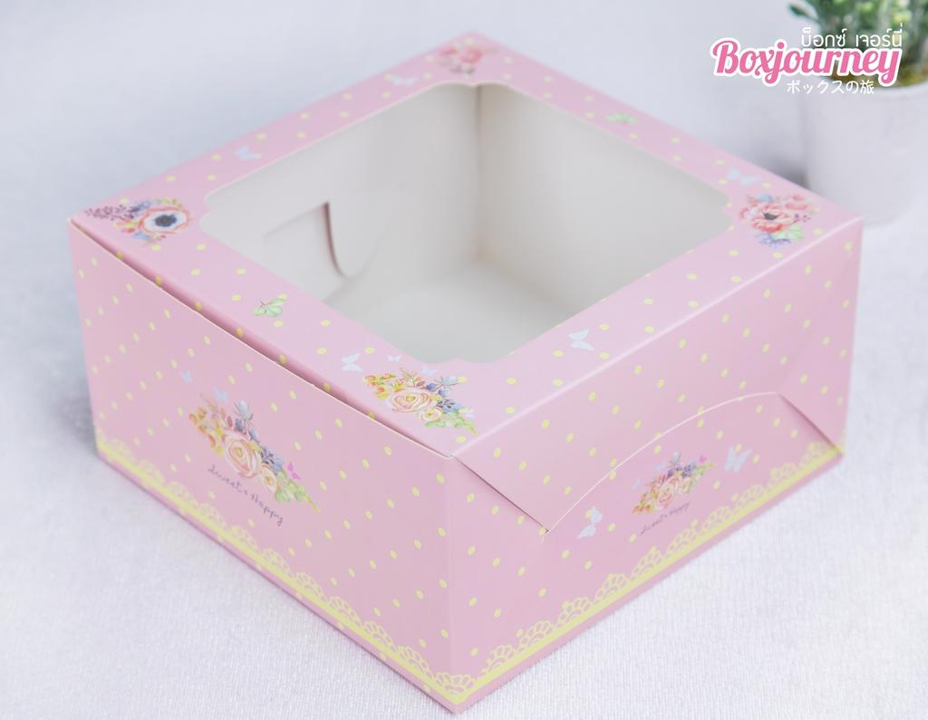 กล่องคัพเค้ก 4 ชิ้น ชมพูพีโอนี (พร้อมฐาน)