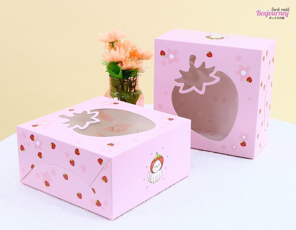 กล่องเค้ก 1 ปอนด์ ลายสตรอว์เบอร์รี่ เนโกะ